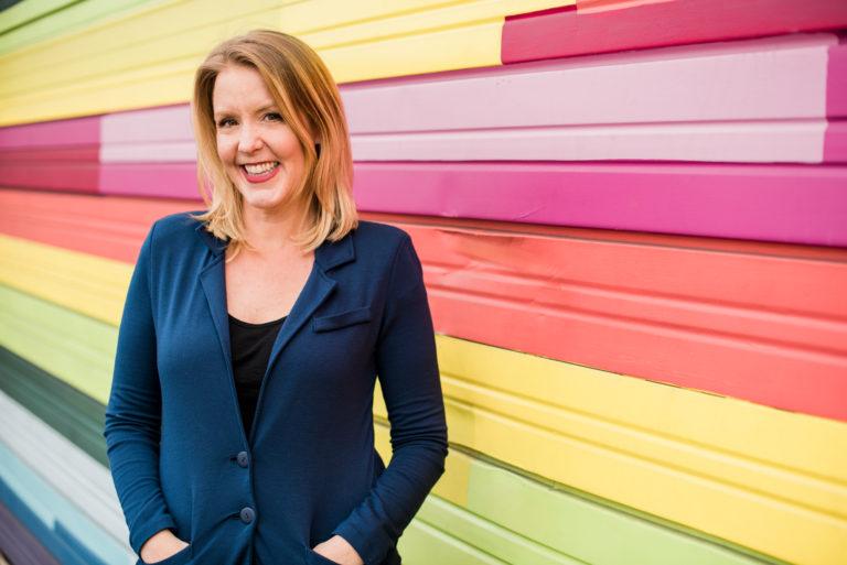 Emily Reagan Headshot photo Rainbow Striped Wall by Emily Reagan PR