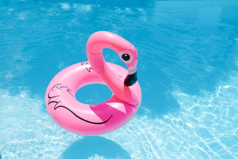 Flamingo Pool Float Vacation Work from Home VA Life Balance by Emily Reagan PR